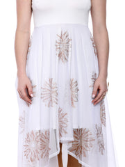 White long a-symetrical hem kurti with copper print on net