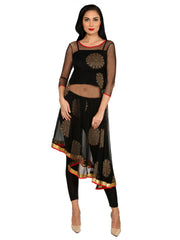 3pcs set of asymmetrical, block printed sheer kurti with inner & knitted trouser - Ira Soleil