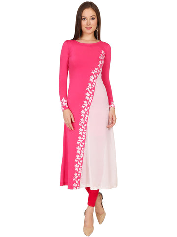 ira-soleil-pink-polyester-knitted-stretchable-georgette-diagonal-block-printed-long-sleevs-womens-long-kurti