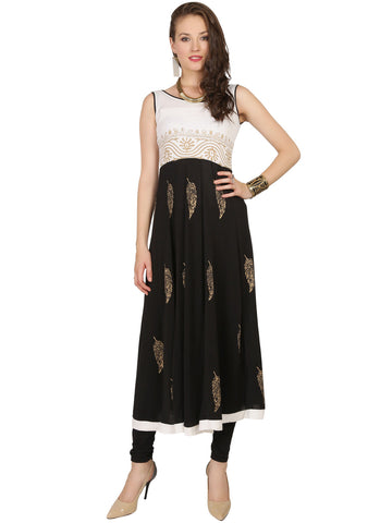 ira-soleil-black-white-polyester-knitted-stretchable-feather-block-printed-sleeveless-tie-back-womens-long-anarkali-kurti