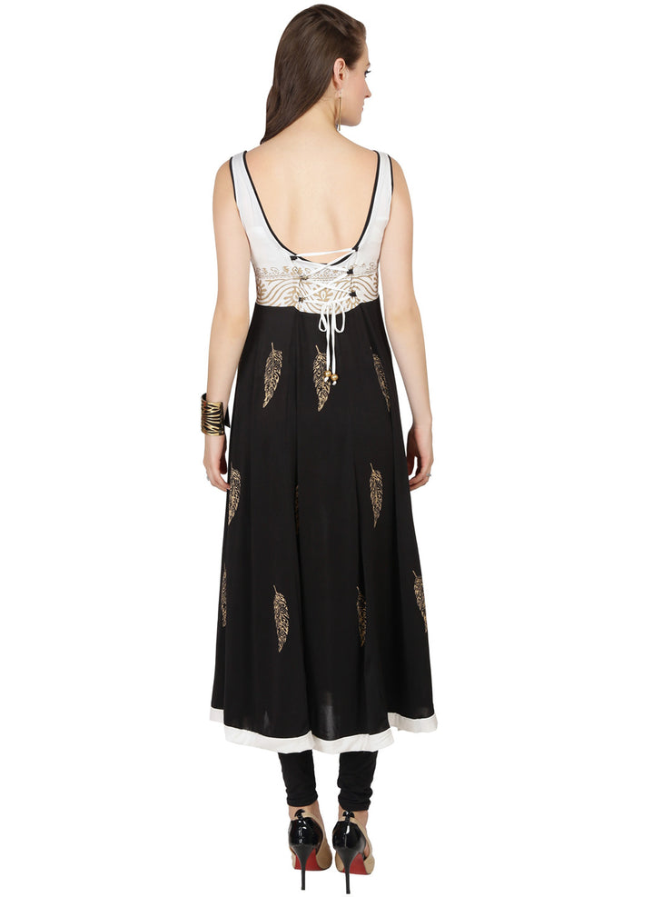 Black white polyester knitted stretchable feather block printed sleeveless tie back long anarkali kurti - Ira Soleil