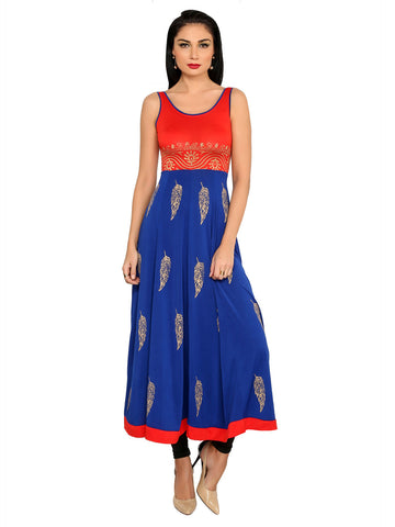ira-soleil-blue-red-polyester-knitted-stretchable-feather-block-printed-sleeveless-tie-back-womens-long-anarkali-kurti