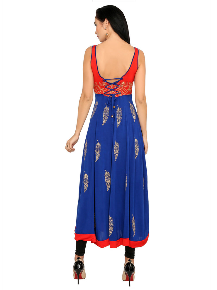 Blue-red stretchable block printed sleeveless tie back women's long anarkali kurti - Ira Soleil