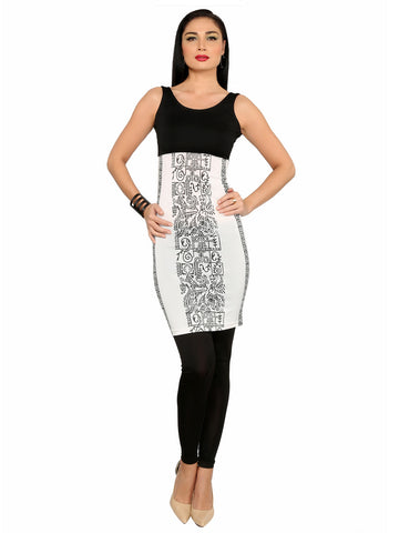 ira-soleil-black-white-polyester-knitted-stretchable-aztec-print-sleevless-womens-short-kurti