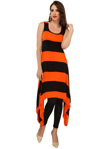 ira-soleil-black-orange-polyester-knitted-stretchable-block-printed-stripped-maxi-dress-womens-long-kurti