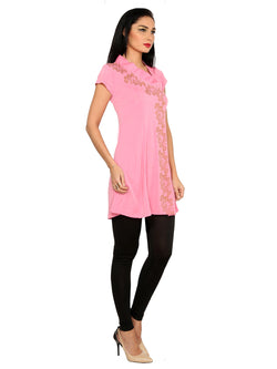 ira-soleil-pink-polyester-knitted-stretchable-asymentrical-neck-short-baby-doll-womens-short-kurti