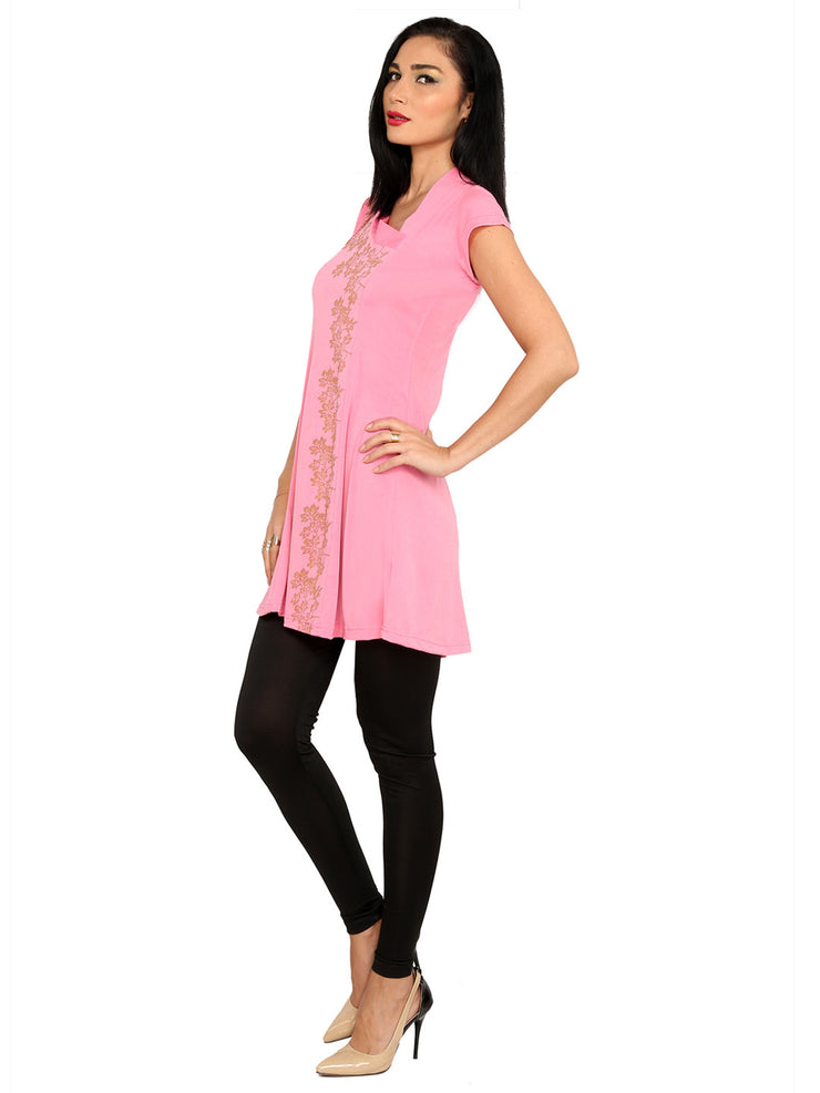 Pink polyester knitted stretchable asymetrical neck short baby doll womens short kurti - Ira Soleil