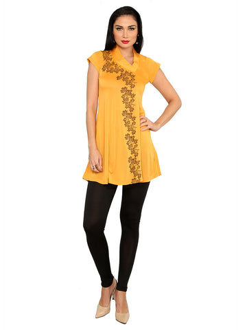 ira-soleil-yellow-polyester-knitted-stretchable-asymentrical-neck-short-baby-doll-womens-short-kurti
