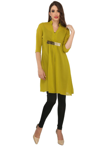 ira-soleil-green-georgette-3-4th-sleeve-with-gold-trim-metal-womens-short-kurti