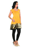 ira-soleil-yellow-polyester-knitted-stretchable-block-printed-cap-sleeves-with-and-tie-back-womens-short-anarkali-kurti
