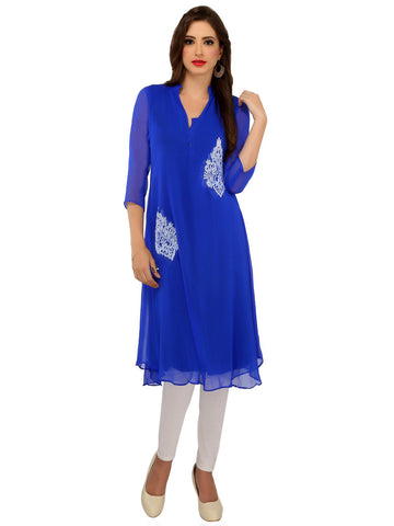 ira-soleil-blue-chiffon-double-layered-bright-cobalt-print-with-polyester-knitted-lining-womens-kurti