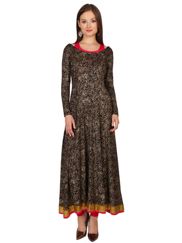ira-soleil-2-pc-set-of-pink-inner-black-all-over-block-print-viscose-knitted-stretchable-long-sleeves-womens-anarkali-kurti