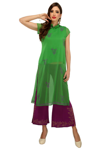 ira-soleil-2-peice-set-of-green-georgette-block-printed-cap-sleeve-top-kurti-with-purple-poly-knitted-strechable-harem-pants