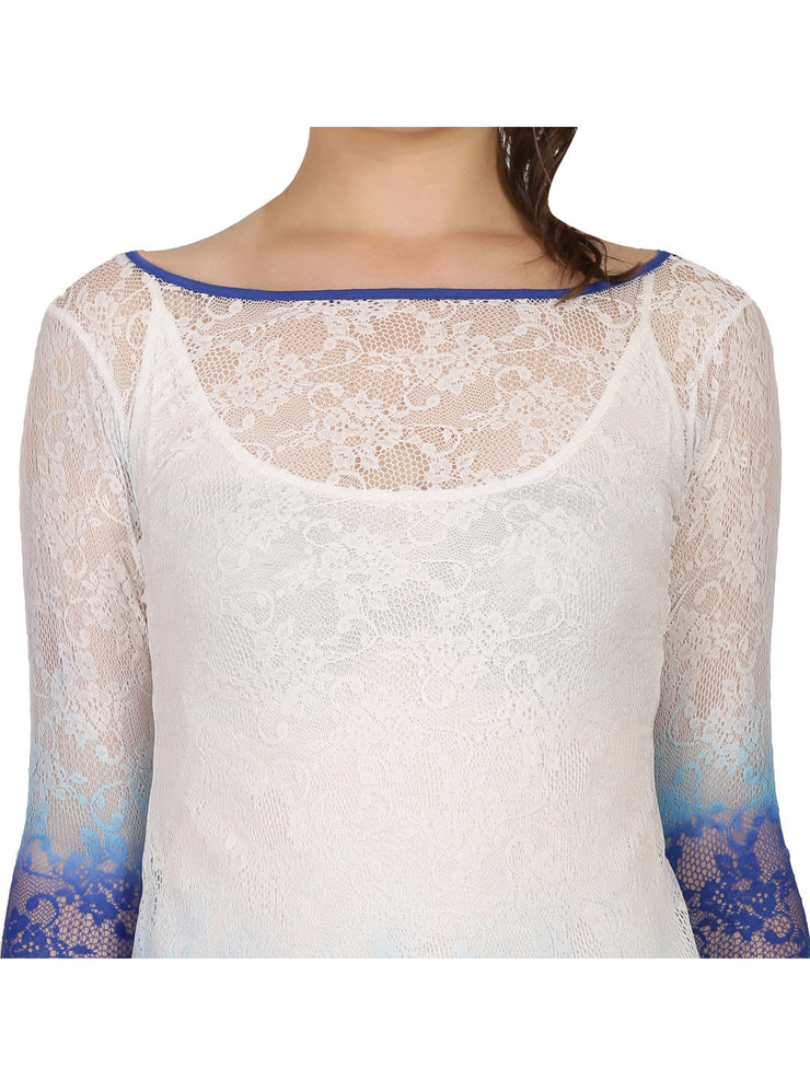 2pcs set of dip dyed lace long top & matching stretchable inner. - Ira Soleil