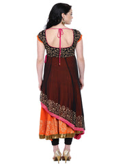 Black Orange double layered anarkali with gold print - Ira Soleil
