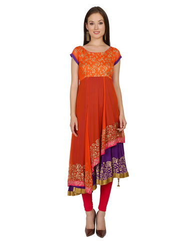 Ira Soleil Orange double layered Anarkali made in Poly chiffon and viscose knit strech block printed cap sleeves women's Long kurti