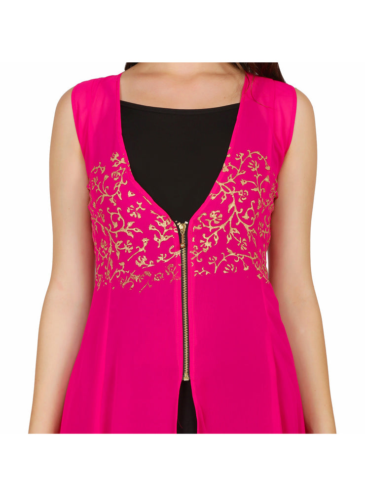 2pcs set of pink georgette kurti with long inner - Ira Soleil