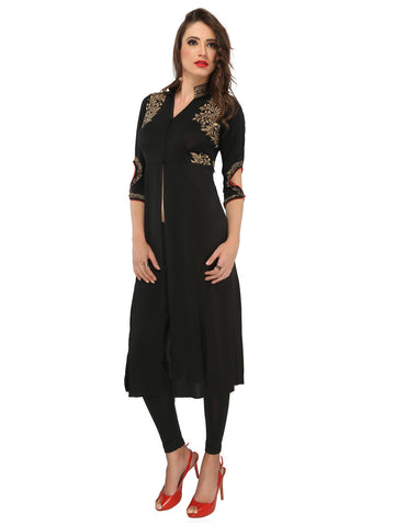 ira-soleil-black-polyester-knitted-stretchable-front-open-jacket-3-4th-sleeves-womens-long-kurti