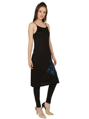Black viscose knitted stretchable sleeveless womens short dress kurti - Ira Soleil
