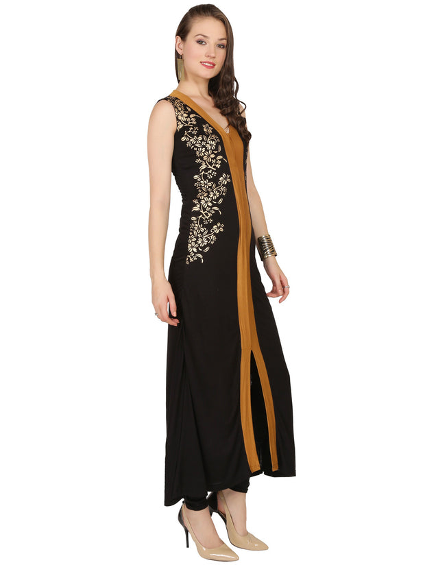 Black printed sleeveless  long stretchable kurta with front opening. - Ira Soleil