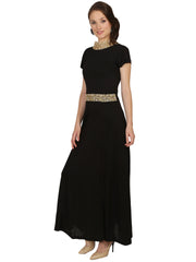 Black viscose knitted with embroidered lace - Ira Soleil