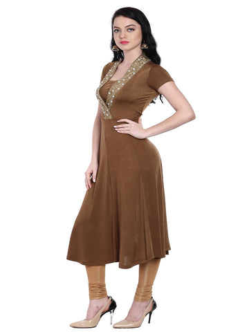 ira-soleil-brown-embellished-neckline-knitted-floor-length-anarkali-kurta