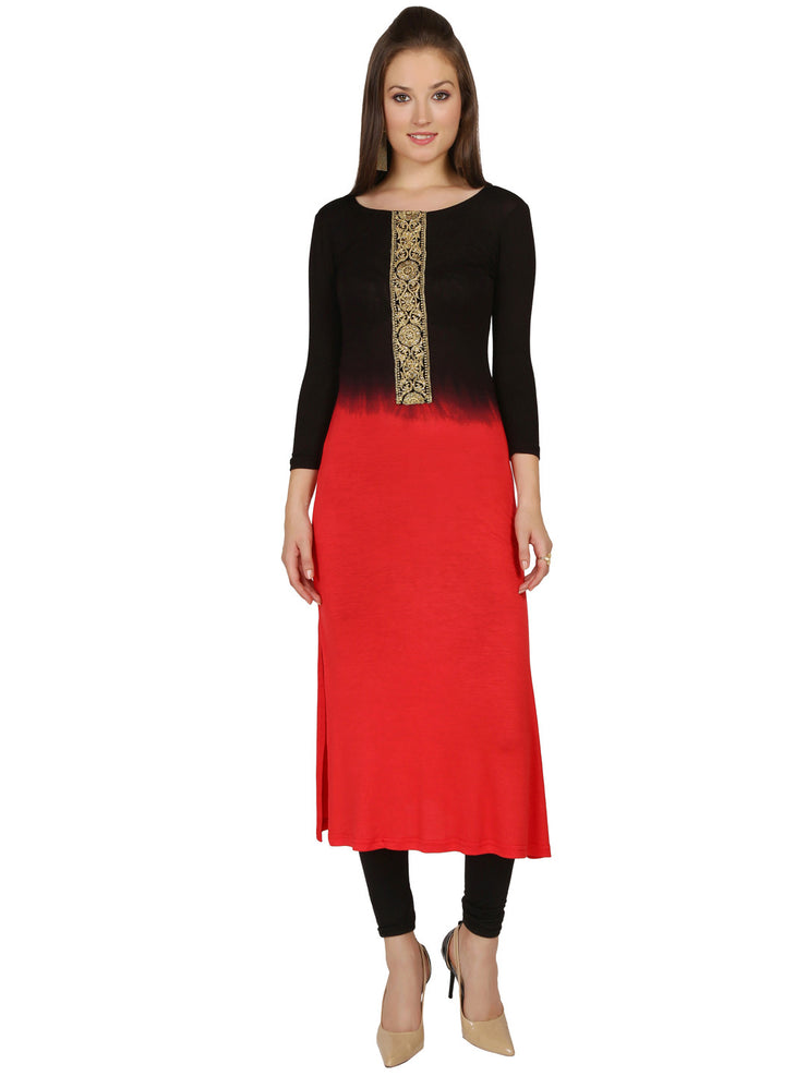 Black red dip dyed viscose knitted stretchable with lace trim 3-4th sleeves long kurta - Ira Soleil