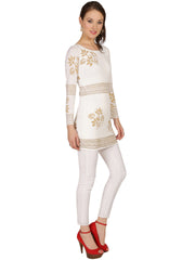 Off white polyester knitted stretchable block printed long sleeves womens dress kurti - Ira Soleil