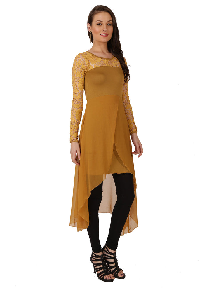Beige embroidered net lace poly chiffon high low kurti - Ira Soleil