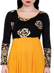 Knitted viscose yellow high low kurti with gold flower print on black - Ira Soleil