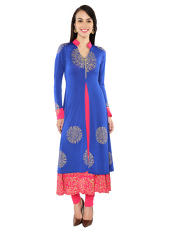 2pcs set of blue jacket with gold print pink long inner - Ira Soleil