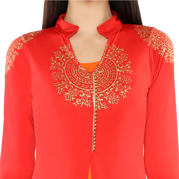 A red jacket & gold print orange long inner set - Ira Soleil