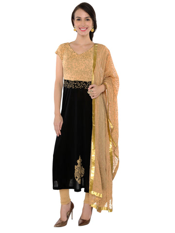 ira-soleil-2pc-set-of-black-long-kurta-with-all-over-printed-beige-dupatta