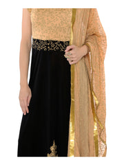 2pcs set of black long kurta with all over printed beige dupatta - Ira Soleil