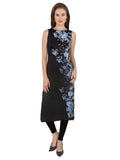 ira-soleil-black-polyester-sleeveless-long-kurti-with-blue-print