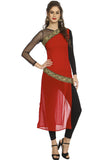 Ira Soleil Red and Black Long Kurti with embroidered lace