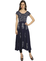 Blue Anarkali Kurta with Silver print - Ira Soleil