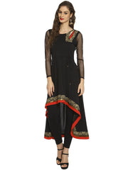 High Low Kurta with cut work, red trim and gold print - Ira Soleil