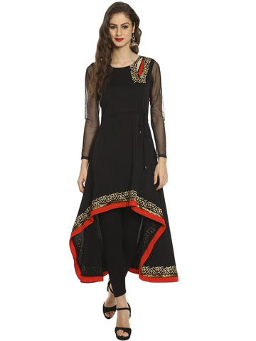 Ira Soleil Black High Low Kurta with cut work and red trim and gold print
