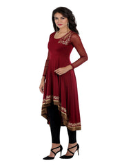 Maroon high low kurti with cut work and red trim and gold print - Ira Soleil