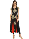 Ira Soleil Black Long Kurta Kurti with Gold Print and contrast red color plit from waist