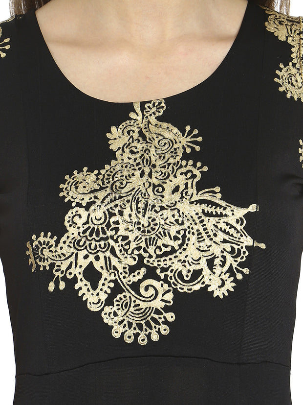 Black Kurta with gold print and contrast red color plit from waist - Ira Soleil