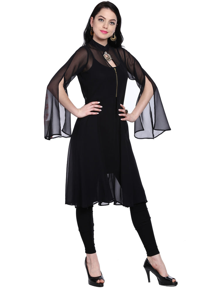 Black chiffon kurti with slit on sleeves - Ira Soleil