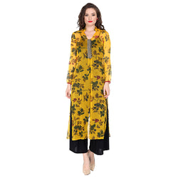 All over floral print with embroidered placket in a soft poly chiffon fabric.