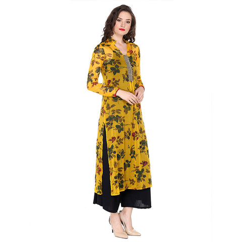 Ira Soleil long kurta with all over floral print and embroidered placket made in light soft poly chiffon fabric.