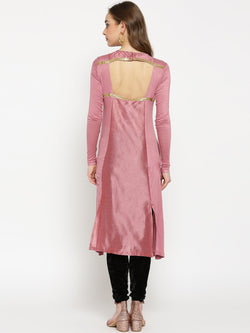 Pink long kurti with antique gold leaf embroidery. - Ira Soleil