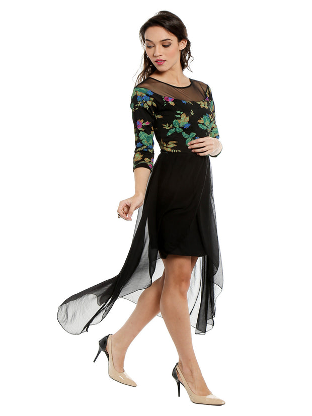 Black multi coloured printed kurti with tulip shape - Ira Soleil