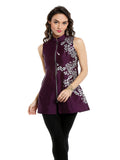 ira-soleil-sleeveless-short-kurti-with-metal-zip-and-silver-print-made-in-poly-tafetta-fabric