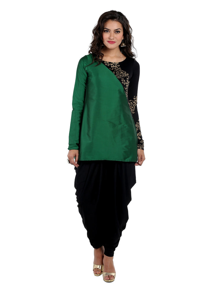 Green cut and sew tafetta and polyknit kurti with long churidaar sleeves - Ira Soleil