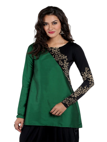 ira-soleil-green-cut-and-sew-tafetta-and-polyknit-kurti-with-long-churidaar-sleeves